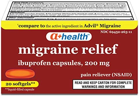 A Health Ibuprofen Migraine 200 Mg Softgels Pain Reliever NSAID Made in USA 20 Count product image
