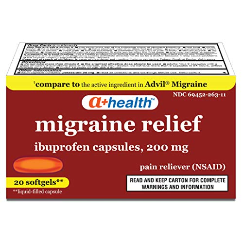 A+Health Ibuprofen Migraine 200 Mg Softgels, Pain Reliever (NSAID), Made in USA, 20 Count
