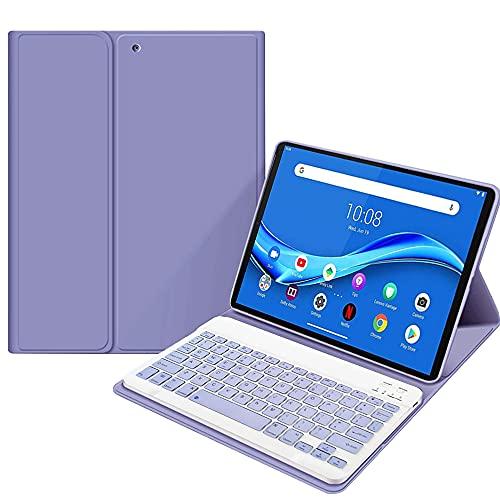 SsHhUu Funda con Teclado para Lenovo Tab P11 2020 de 11 Pulgadas (Modelo: TB-J606F TB-J606X), Carcasa Delgada con Teclado Inglés Inalámbrico Desmontable Magnético, Púrpura