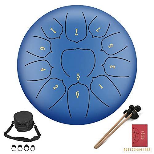 Ecisi Premium Mini Tongue Drum Steel Lotus Hand Pan Drum 11 Notas...