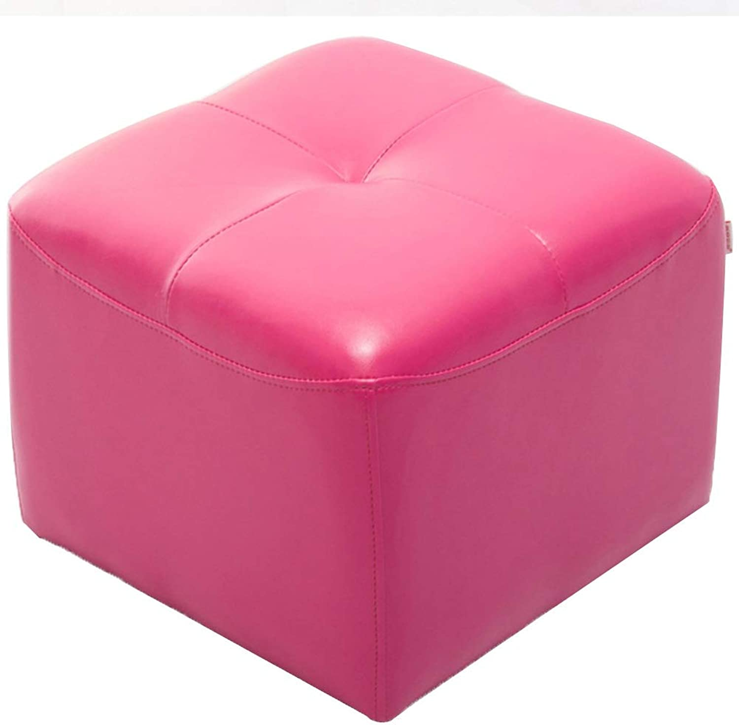 BYPING Pouffes and Stool Upholstered Footstools Solid Wood PU Plastic Foot Pad Bedroom Cotton Breathable, 6 colors (color   Pink, Size   42x42x34CM)