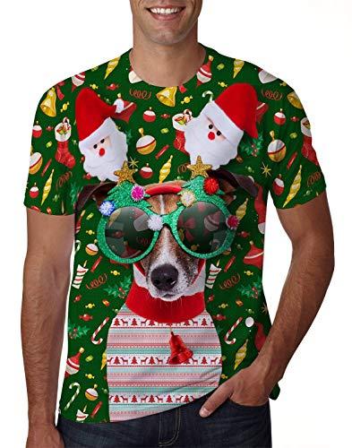 uideazone Men Women 3D Ugly Christmas Dog Tshirt Funny X-mas Party Graphic Tee Shirt