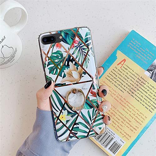 [Ring Ständer] kompatibel mit iPhone 8 Plus Hülle Glitzer Glänzend Sanft Silikon Schutzhülle Überzug Marmor Blume Tropisch Muster Ultra Dünn Cover Case Handyhülle für iPhone 7 Plus / 8 Plus (Gelb)