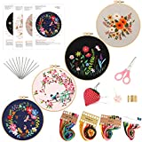 4 Pack Embroidery Kit for Beginners,Embroidery Starter Kit with Pattern and Instructions,Cross Stitch Kits Include Embroidery Hoop,Cloth,Threads,Scissors,Needles,Needlepoint Kits for Adults (B)