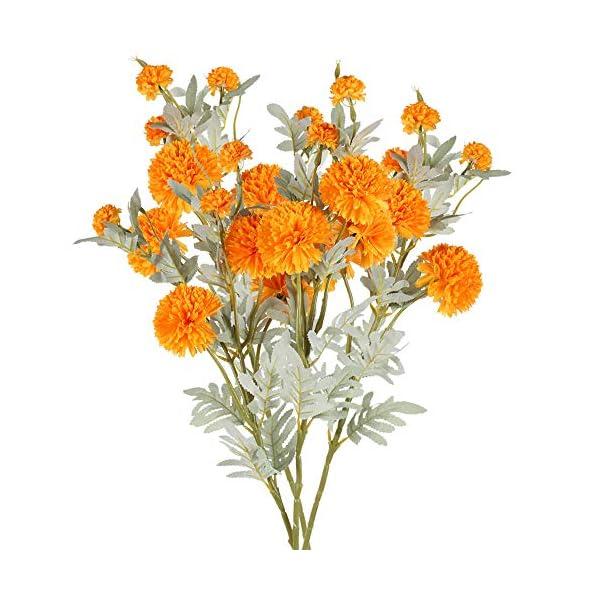NAHUAA 4pcs Flores Artificiales Crisantemo de Seda Pequeña Bola Flores Falsas para el Hogar Jardín Fiesta Mesa de…