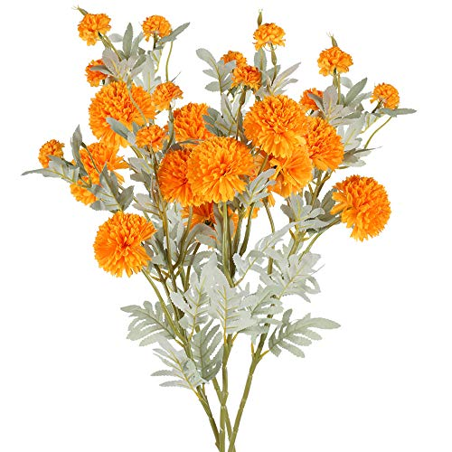 NAHUAA 4pcs Flores Artificiales Crisantemo de Seda Pequeña Bola Flores Falsas para el Hogar Jardín...