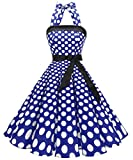 Timormode Robe Rétro Vintage Femme Année 40 50 60 Robe de Cocktail Rockabilly Décolleté 10212Big Royalblue White S