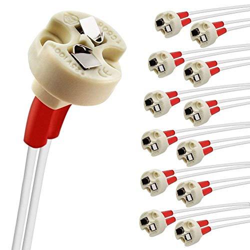 DiCUNO 12P MR16/GU5.3/MR11/G4 Keramik Fassung mit 15CM Kabel, 12-250V, Bi-Pin Base für Halogen/LED-Lampe, für G6.35, GY6.35, GX5.3, GU5.3, GZ4.