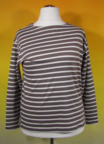 Bretonisches Damen Fischerhemd Langarm Streifen Hemd taupe / natur gestreift 2500D_39 von Modas Größe 44 (Damen) / 52 (Herren)