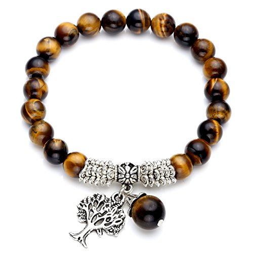 CrystalTears Yoga Armband mit Lebensbaum Anhänger 8mm-Kugelsteine Buddha Armreif Healing Balance Energietherapie Edelstein Stretcharmband (Tigerauge)