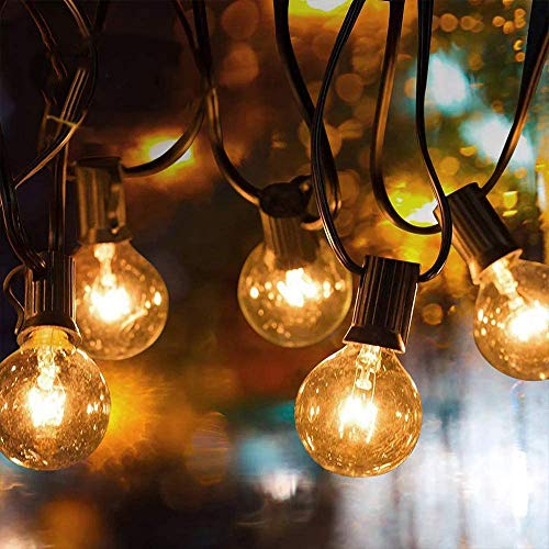 GEEDIAR Outdoor String Lights, 50ft G40 Garden Lights Mains Powered Party Lights,Waterproof Outdoor Indoor String Lights for Xmas Wedding Party Decoration (50Bulb + 4 Spare Bulb)