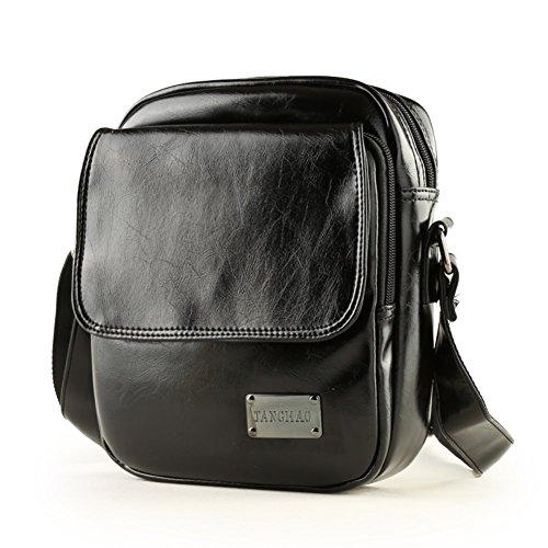 Sincere® sac à bandoulière en cuir / homme sac à dos sac étudiant / loisirs de plein air sac Messenger / affaire d'hommes à travers le petit paquet noir