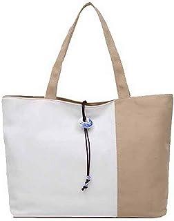 Shoulder Bag Women's Zippers Canvas Shoulder Bags Fashion Tote Bags Handbag Clutch (Color : Khaki, Size : One Size)