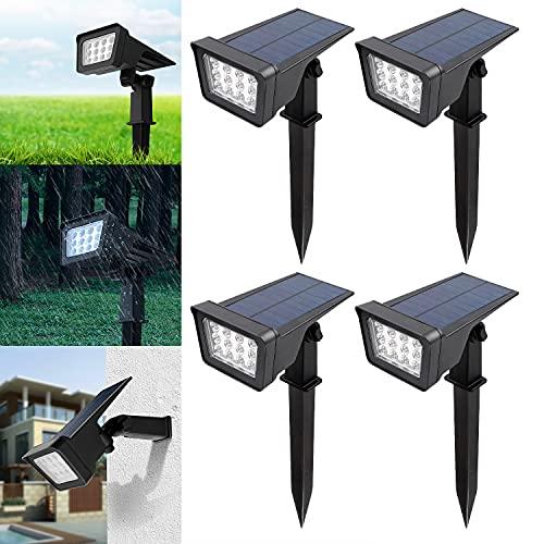 CPROSP 4PCS Faretti Solari Esterno Bianchi Caldi, Luce Solare 12 LEDS, Lampade Solari da Giardino 2 Modalità di Illuminazione, IP65 Impermeabile, per Alberi, Cespugli, Percorso
