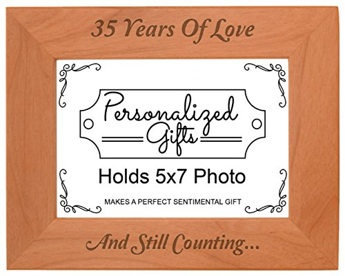 35th 35 Years and Counting Natural Wood Engraved 5x7 Landscape Picture Frame Wood