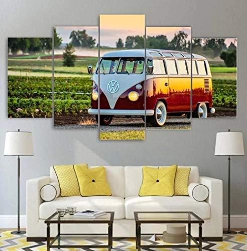 Kunstdruck Bilder 5 Teile Wandbilder Bus Vwww 5 Teiliges Wandbild Moderne Dekoration Leinwand Bilder Schlafzimmer Home...