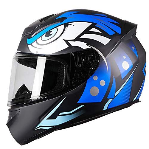 Dajie Casco de motocicleta de cara completa, compacto, antivaho, cálido, para motocross, todoterreno, todoterreno, unisex, aprobado por DOT, azul, XXXL