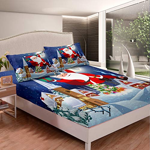 Juego de sábanas de Navidad Papá Noel impreso sábanas para niños y niñas de dibujos animados muñeco de nieve juego de sábanas de cama hipoalergénico ajustable colección dormitorio 3 piezas tamaño king