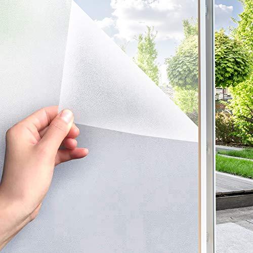 Fensterfolie Selbsthaftend Blickdicht Sichtschutzfolie Fenster Milchglasfolie Anti-UV Statisch Folie für Büro und Zuhause Bad (60 x 200cm, Weiß matt)