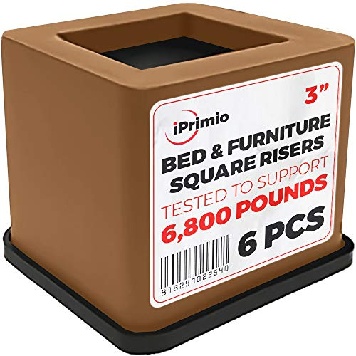 iPrimio Bed and Furniture Square Risers - Brown 6 Pack 3 INCH Size - Wont Crack & Scratch Floors - Heavy Duty Rubber Bottom - Patent Pending - Great for Wood and Carpet Surface