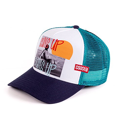 Coastal - Suns Up (White/Navy/Turquoise) - High Fitted Trucker Cap