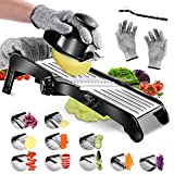 Mandoline Food Slicer- Black Adjustable Stainless Steel Vegetable Slicer,Perfect For Cheese, Zucchini, Carrots and All Fruits And Vegetables Dicer With cleanning brush And Gloves