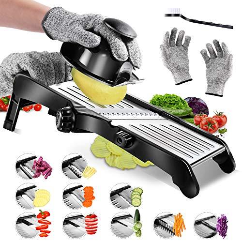 Masthome Mandolinen-Schneider Verstellbarer Gemüsehobel,Küchenreibe Julienne-Schneider für Obst, Kartoffeln Tomaten Zwiebeln Käse - Hergeben Schnittfesten Handschuhen und Reinigungsbürste