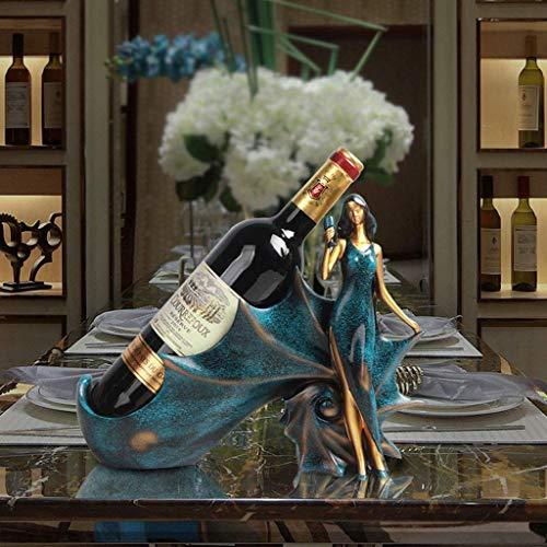 COLiJOL Estante de Vino de Concha Soporte de Botella de Vino Estatua de Poliresina Decoración de Barra de Cocina Soportes de Vino Estante de Decoración para el Hogar