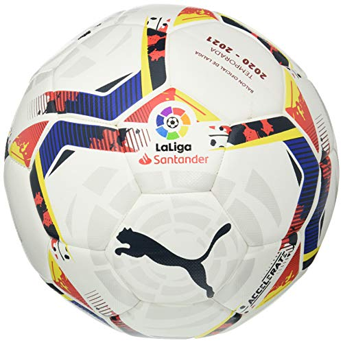 PUMA LaLiga 1 Accelerate Hybrid Ball Balón de Fútbol, Unisex-Adult, White-Multi Colour, 5