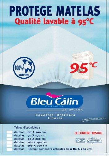 Bleu Câlin Protège Matelas Lavable à 95°, Forme Drap Housse, Blanc, 90x190 cm PMAH