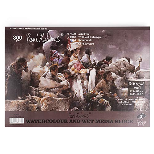 Paul Rubens Watercolor Paper Block Cold Press 15.4 10.6 Inches, 20 Sheets, Acid-Free, 50% Cotton Watercolor Paper Pad