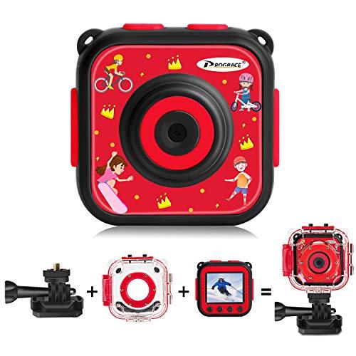PROGRACE Kids Camera Underwater Waterproof Camera for Kids Camcorder for Boys Girls 4X Digital Zoom 3-Level Volume Adjustment(Red)