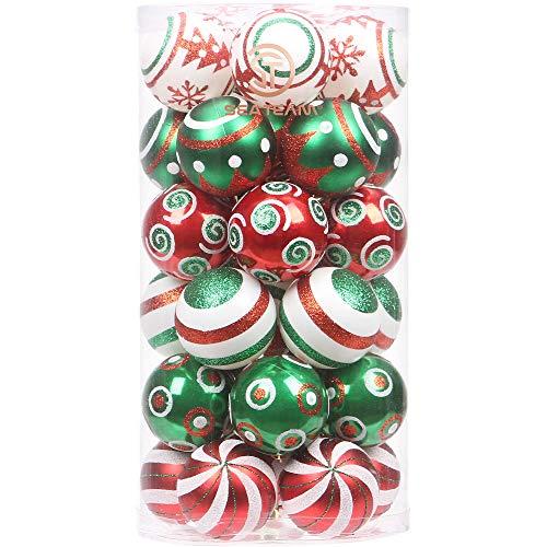 """Sea Team 60mm/2.36"""" Set de Navidad Brillantes delicados artilugios Decorativos, Pintado en Color de Contraste decoración de Bolas Colgantes de árboles de Navidad - 30 Piezas"""