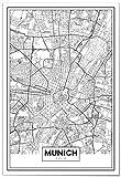 Panorama Poster Karte von München 50 x 70 cm - Gedruckt