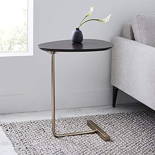 Mesa de Centro Mesa Auxiliar Sala de estar Sofá Laptop C en forma de mesa de sofá con tapa de madera Mesa de extremo lateral for sofá de café Dormitorio de sala de estar Mesa de Café ( Color : Black )