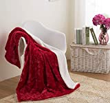 DaDa Bedding Valentine Throw Blanket - Non Shedding Luxury Plush Cobijas Heart in Love Faux Fur Sherpa Fleece Romantic Gift Idea - for Couch or Bed Soft Embossed Solid Pomegranate Red - 63' x 90'