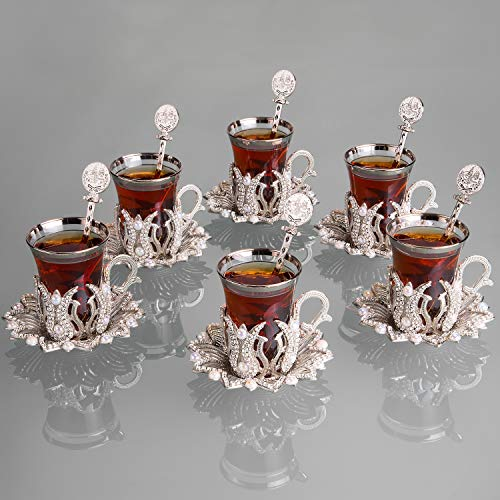 LaModaHome Turkish Arabic Tea Glasses Set of 6 with Saucers, Spoons and Holders - Crystals and Pearl Fancy, Vintage Silver Handmade Set for Serving, Gift, Teatime