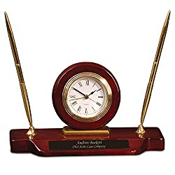 Dayspring Pens | Personalized Woodmark Stinson Desktop Clock & Pen Set. Custom Gift Clock and Pen Set with Fast 1 Day Engraving