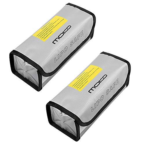 MoKo Lipo Akku Tasche, 2 Stück Lipo Batterie Tasche Feuerfest Explosionsgeschützte Batterie Safe Bag für Charge, Klettverschluss Feuerbeständige Sicherheit Schutztasche Ladegerät Sack – Silber