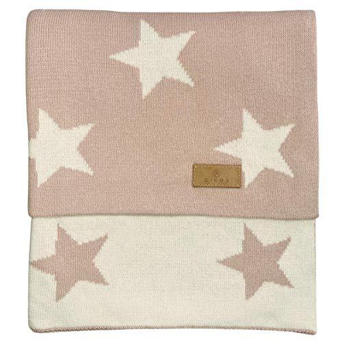Babydecke Baumwolle Sterne rosa - aus * 100% * GOTS BIO Baumwolle kbA kontrolliert biologischer Anbau Mädchen Strickdecke Baby Decke Baumwolldecke Strick Wolle Kinderwagen Kuscheldecke
