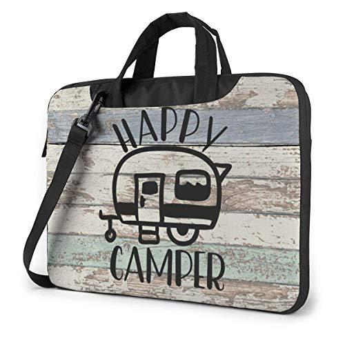 15.6 inch Laptop Shoulder Briefcase Messenger Vintage Wooden Door Happy Cam-Per Tablet Bussiness Carrying Handbag Case Sleeve