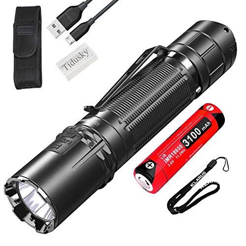 Klarus XT2CR PRO Lampe Torche LED Tactique 2100 Lumens 240m, Lampe Torche Rechargeable Puissante militaire, Interrupteur de Queue 6 modes de sortie, avec batterie 18650 et Boîtier de Batterie Tidusky
