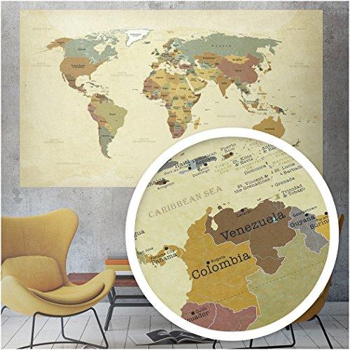 beneart® Mapamundi vintage - Póster grande - Mapa de Europa - Idea de regalo - Mural antiguo - 140 x 82 cm