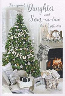 For All The Family Fireplace /& Stockings Design Christmas Card Lovely Verse