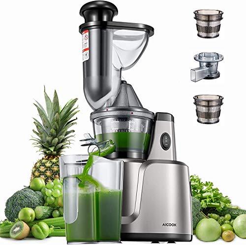 Entsafter AICOOK, 3-In-1 Slow Juicer für Gemüse und Obst, Babynahrung und Eiscreme, 75 mm Wide Mouth, Weniges Geräusch&Saftrezepte&Vorreinigung, Vertikal