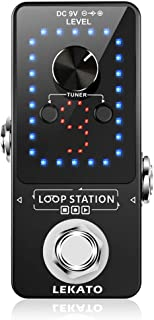 LEKATO Guitar Effect Pedal Guitar Looper Pedal Tuner Function Loop Station Loops 9 Loops 40 minutes Record Time with USB Cable for Electric Guitar Bass