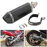 JFG RACING Universal 1.5-2 'Glissement d'admission sur le silencieux d'échappement avec amovible DB Killer pour Street Bike Moto Scooter - couleur de fibre de carbone