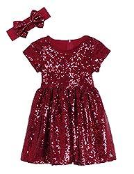 Burgundy Maroon Toddlers Sequin Dress
