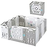 Albott Baby Playpen 14 Panels Folding Kids Safety Play Center Yard, Game Panel and Gate with Safety Lock, Adjustable Shape for Children Toddlers Indoors or Outdoors(Grey+White, 14 Panel)