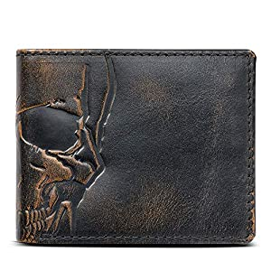 HOJ Co. SKULL Wallet-Double ID Bifold-Full Grain Mens Leather Wallet-Multi Card Capacity